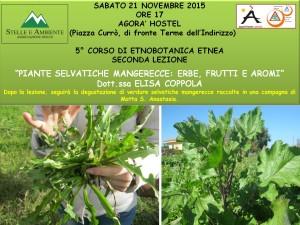 LOCANDINA SECONDA LEZIONE 5°CORSO ETNOBOTANICA 21NOVEMBRE2015