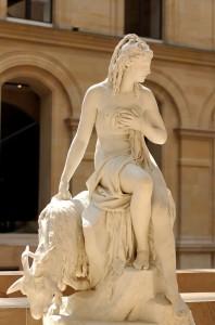 Pierre Julien, Amaltea e la capra di Giove. Parigi, museo del Louvre.