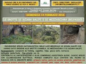 LOCANDINA GROTTE MEZZASCIARA E SCIARA GALIFI 14FEBBRAIO2016