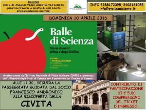LOCANDINA BALLE DI SCIENZA E CIVITA 10APRILE2016
