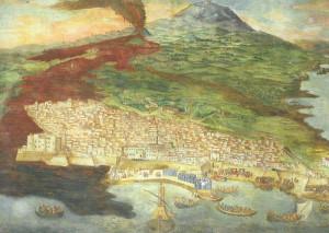ERUZIONE 1669 AFFRESCO DI GIACINTO PLATANIA SACRESTIA DUOMO DI CATANIA